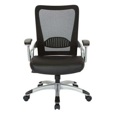 Manager's Chair with Black Faux Leather Seat and Mesh Back