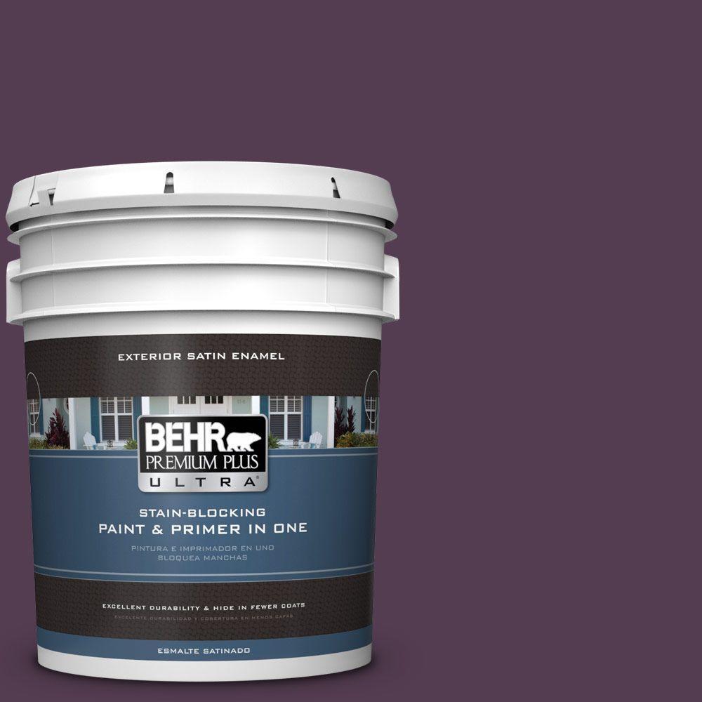 BEHR Premium Plus Ultra 5-gal. #PPU17-2 Oriental Eggplant Satin Enamel Exterior Paint
