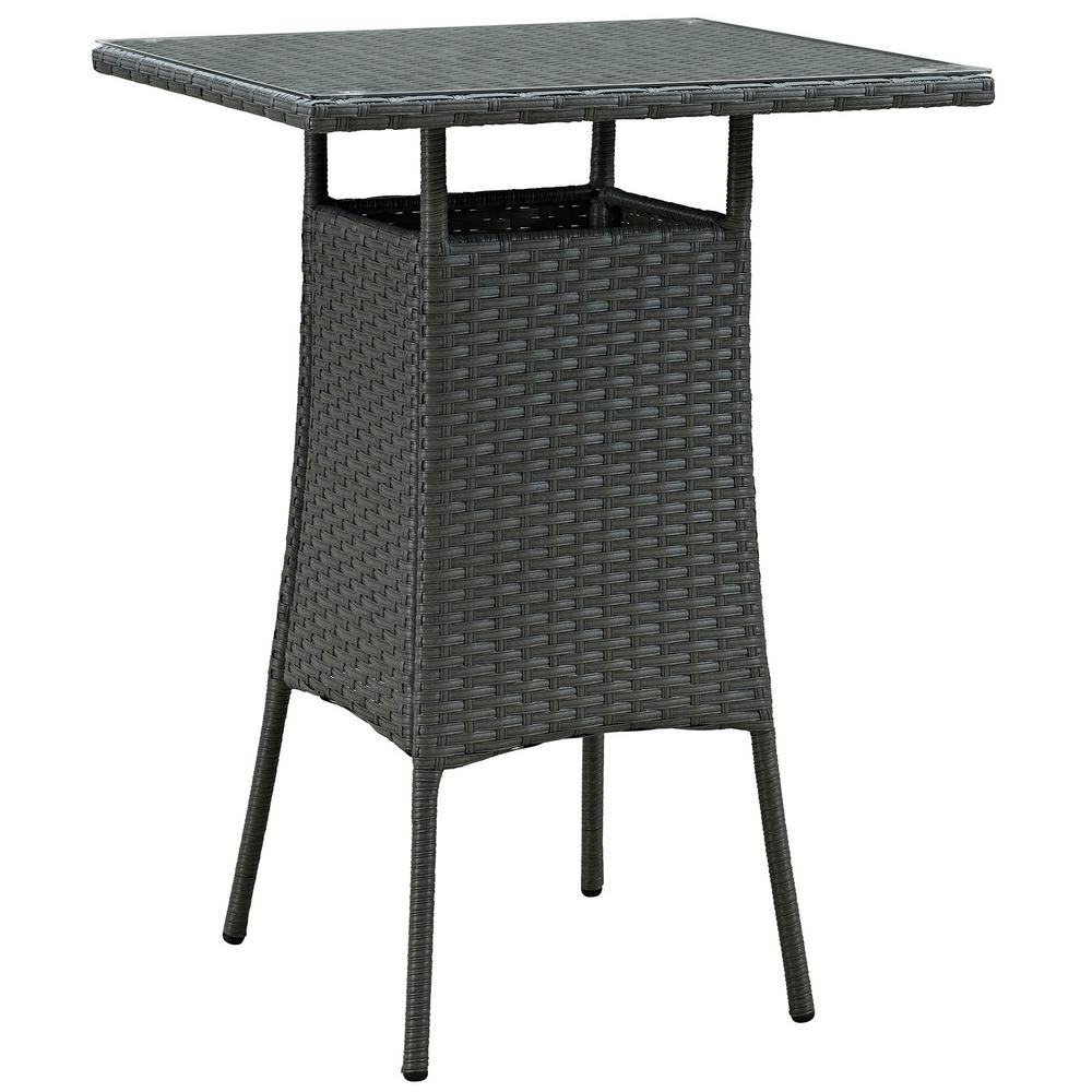 Sojourn Small Patio Patio Wicker Bar Height Outdoor Dining Table in