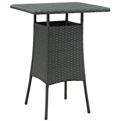 Sojourn Small Patio Patio Wicker Bar Height Outdoor Dining Table in Chocolate