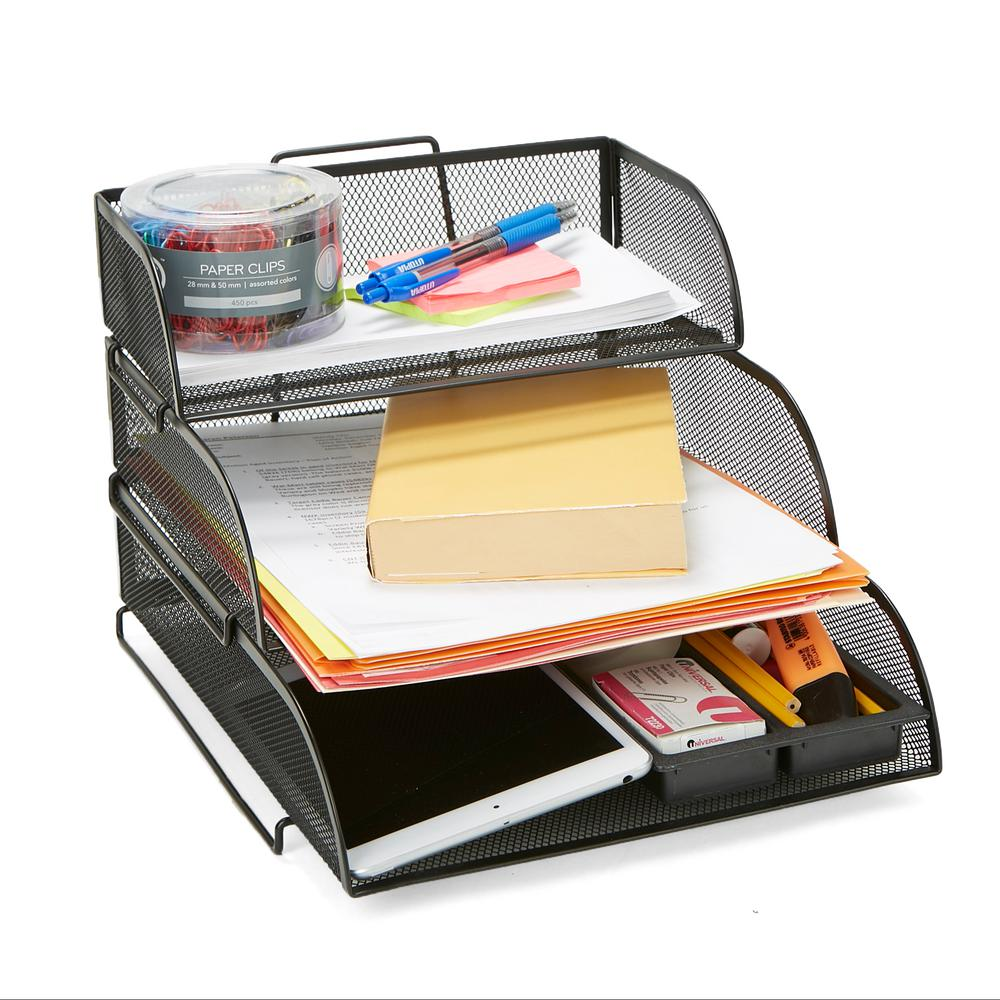 1ea13d6b3 Mind Reader Metal Mesh 3-Tier Different Sized Paper Trays Desk Organizer, Letter  Tray