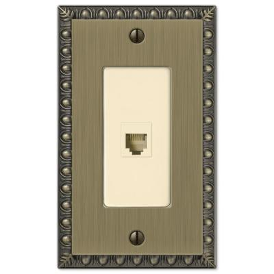 Antiquity 1 Gang Phone Metal Wall Plate - Brushed Brass