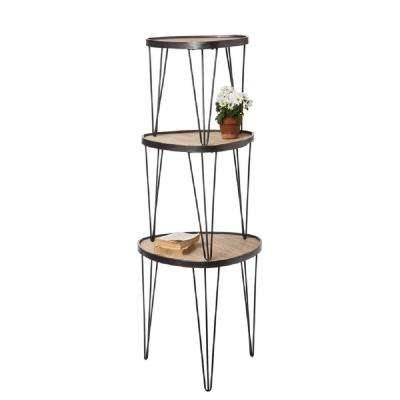 Stacking 3-Tiered Natural Tables Shelving Unit