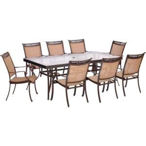 Hanover Fontana 9-Piece Aluminum Rectangular Outdoor Dining Set with Glass-Top Table by Hanover
