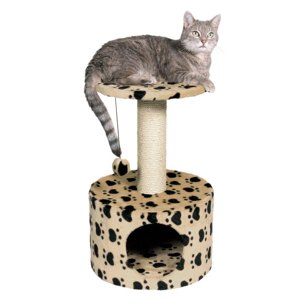 Beige/Black Toledo Paw Print Cat Condo