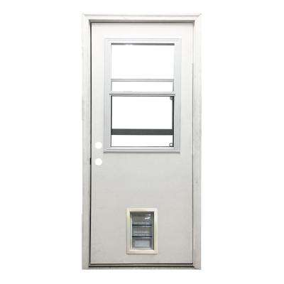 32 in. x 80 in. Classic Clear Vented Half Lite RHIS White Primed Fiberglass Prehung Back Door with Med Pet Door