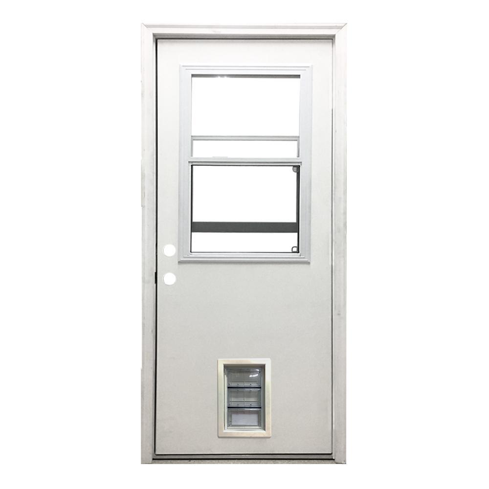 Steves & Sons 36 in. x 80 in. Classic Clear Vented Half Lite RHIS White Primed Fiberglass Prehung Front Door with Med Pet Door