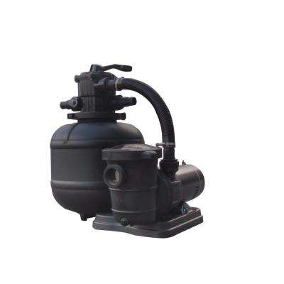 19 in. Sand Filter System for Above Ground Pools with Multiport Valve 1 HP Pump