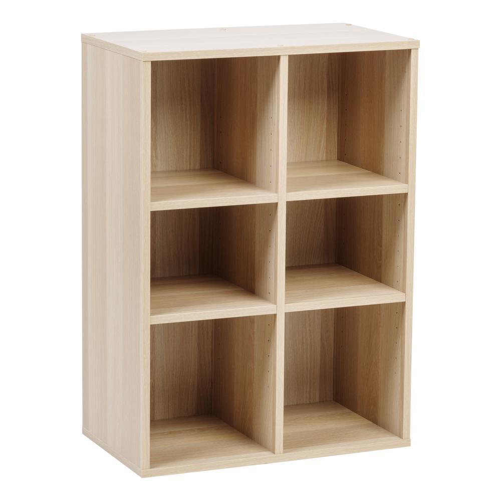 Collan Series Light Brown 6-Cube Wood Shelf