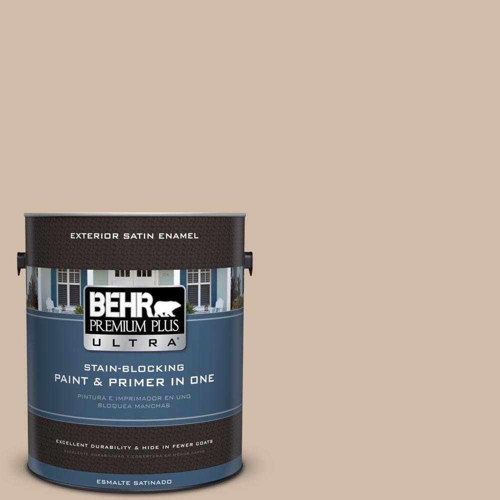 BEHR Premium Plus Ultra 1-gal. #PWL-83 Distant Tan Satin Enamel Exterior Paint