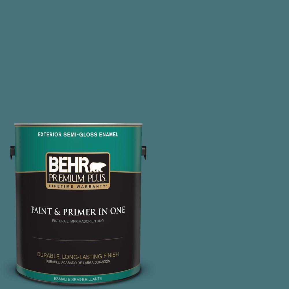 1 gal. #HDC-FL15-03 Blue Sage Semi-Gloss Enamel Exterior Paint