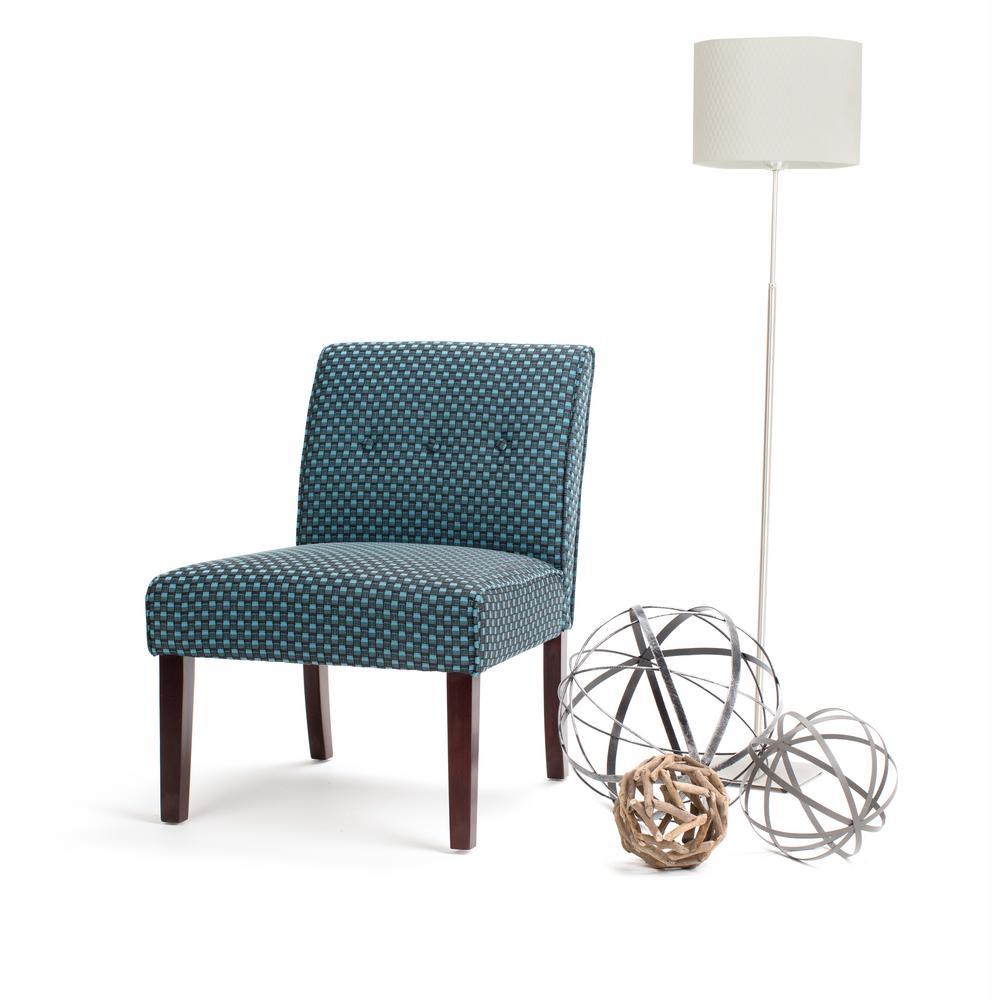 Simpli Home Sallybrook Teal Fabric Slipper Chair Axcchr