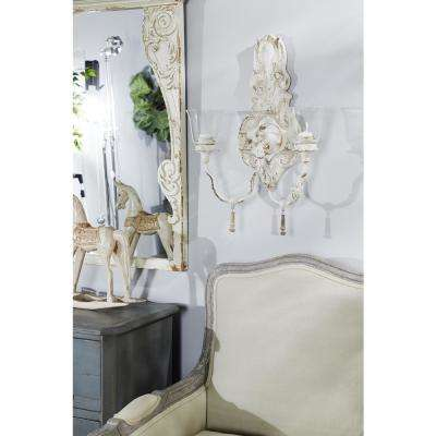 Distressed White 2-Light Candle Sconce