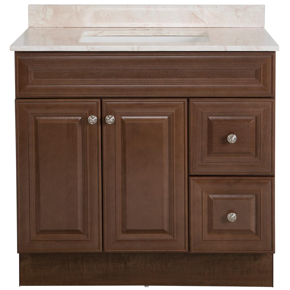 Glacier Bay Glensford 37 in. W x 22 in. D Bathroom Vanity in Butterscotch with Stone Effects Vanity Top in Dune with White Sink