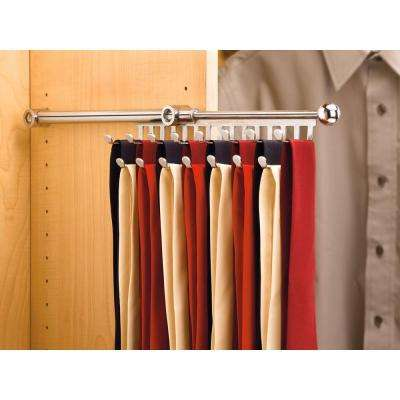 3 in. H x 3 in. W x 11.875 in. D Chrome Pull-Out 7-Hook Tie/Scarf Rack