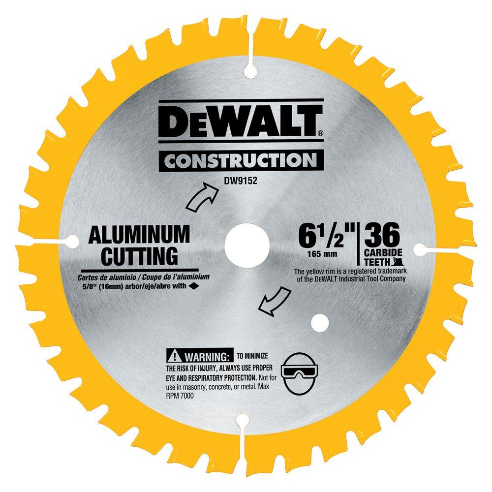 Dewalt 6 1 2 In 36 Tooth Aluminum Cutting Blade Dw9152