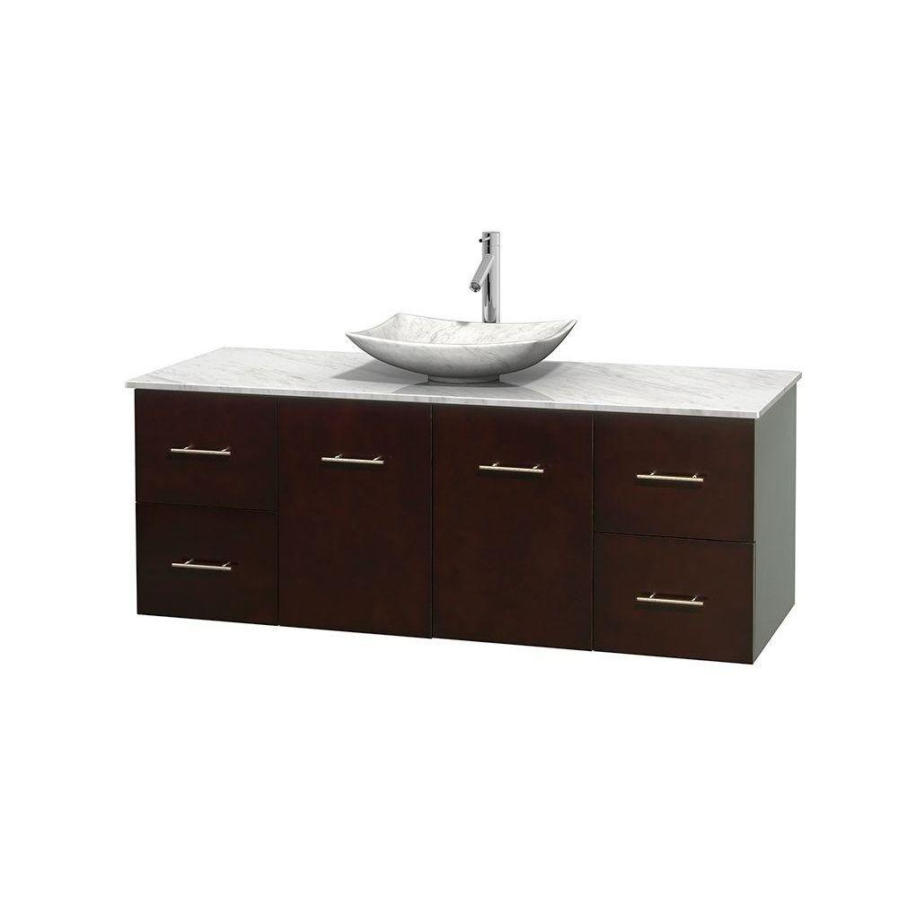 Centra 60 in. Vanity in Espresso with Marble Vanity Top in