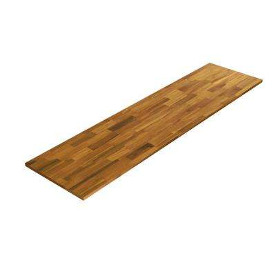 8 ft. L x 2 ft. 1.5 in. D x 1.5 in. T Butcher Block Oiled Acacia Golden Teak Wood Stain