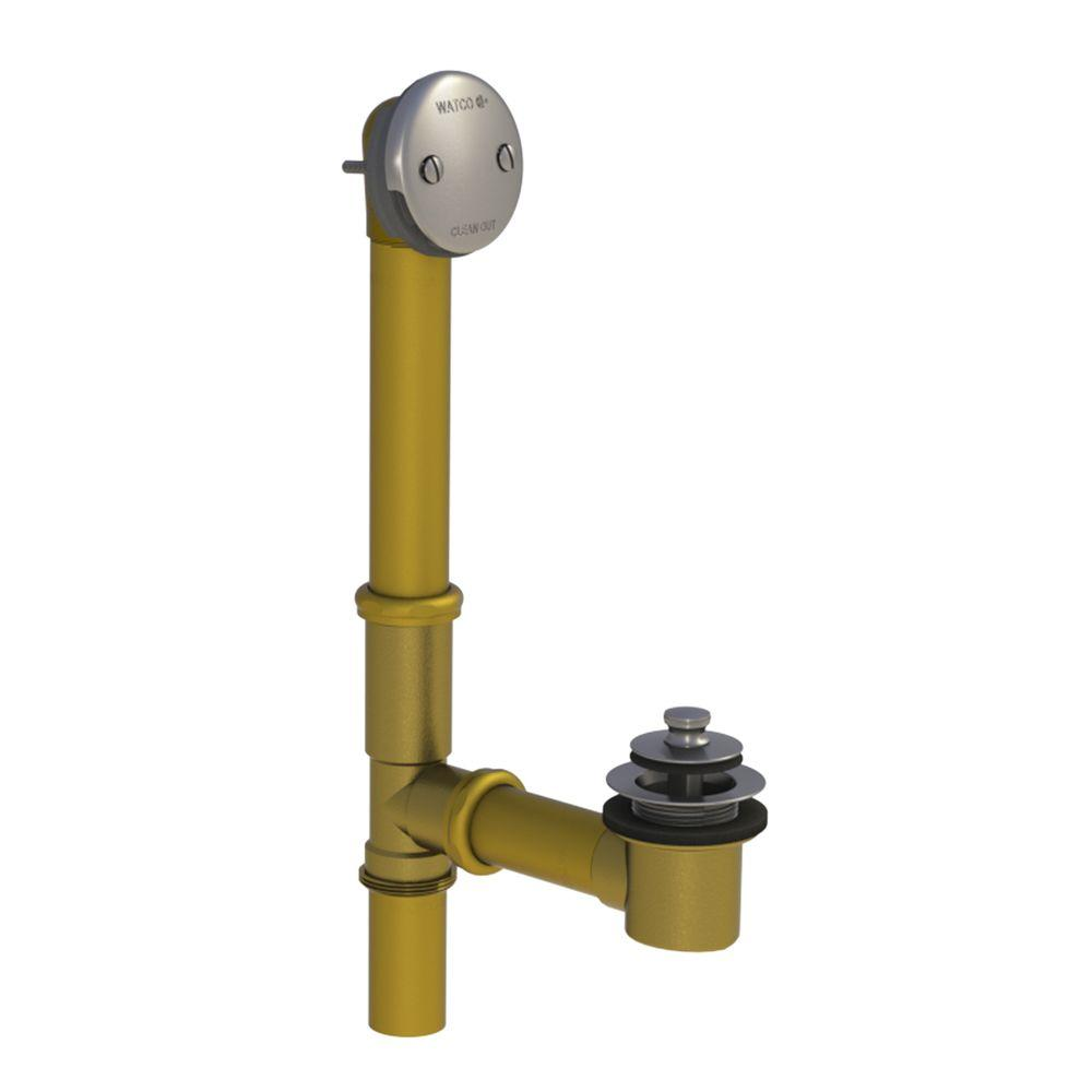 501 Series 16 in. Tubular Brass Bath Waste with Push Pull