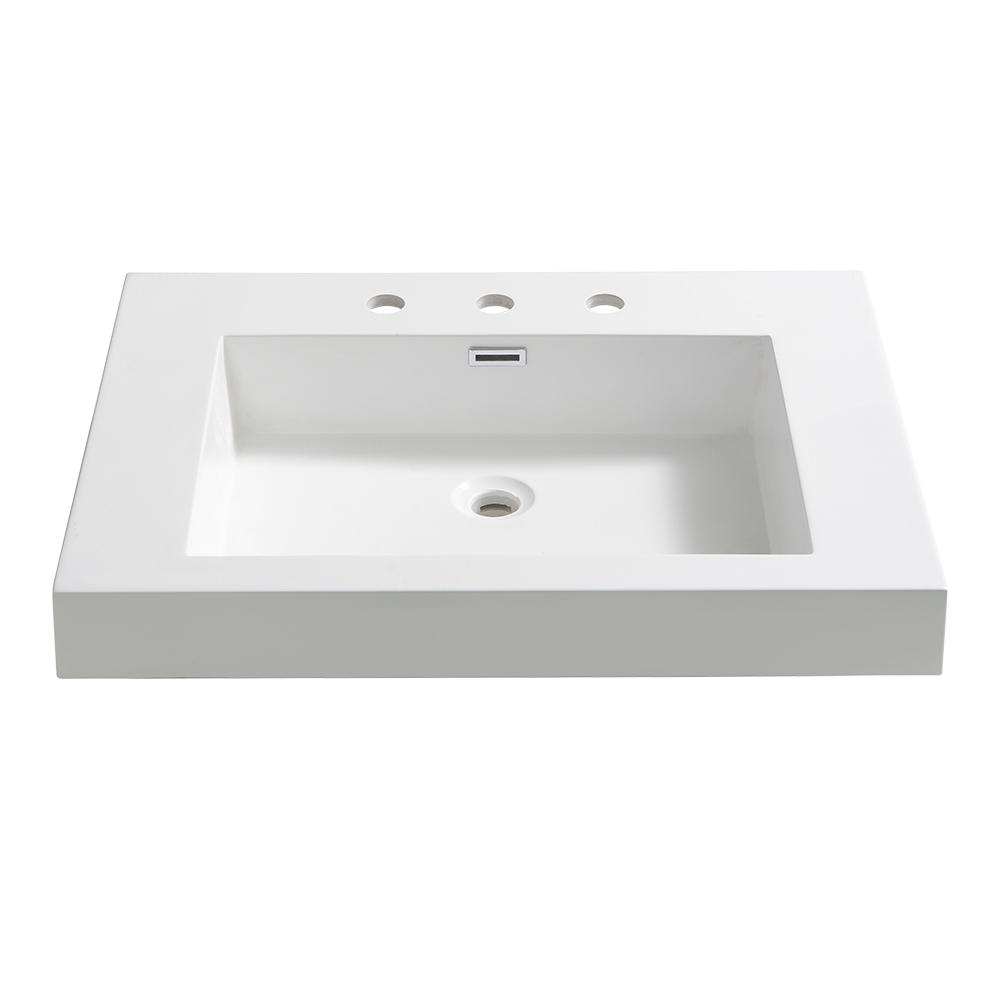 Potenza 28 in. Drop-In Acrylic Bathroom Sink in White with Integrated
