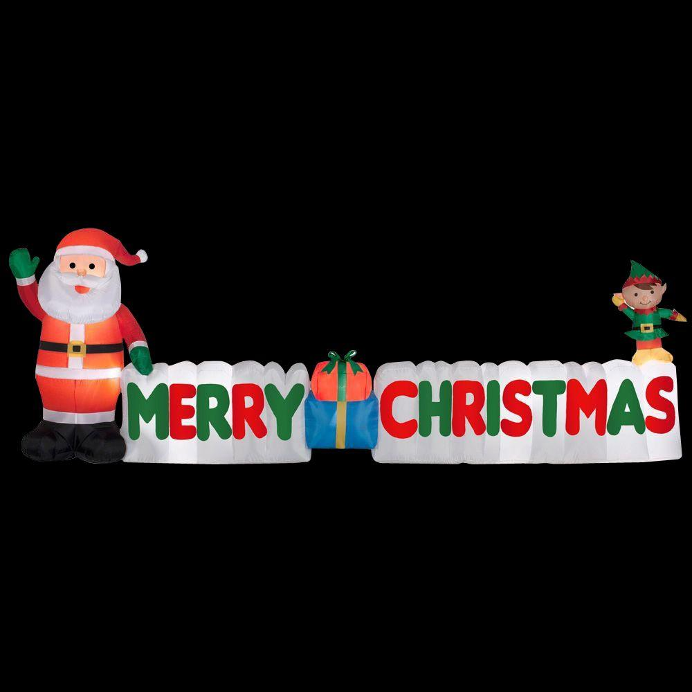 long inflatable merry christmas sign - Home Depot Inflatable Christmas Decorations