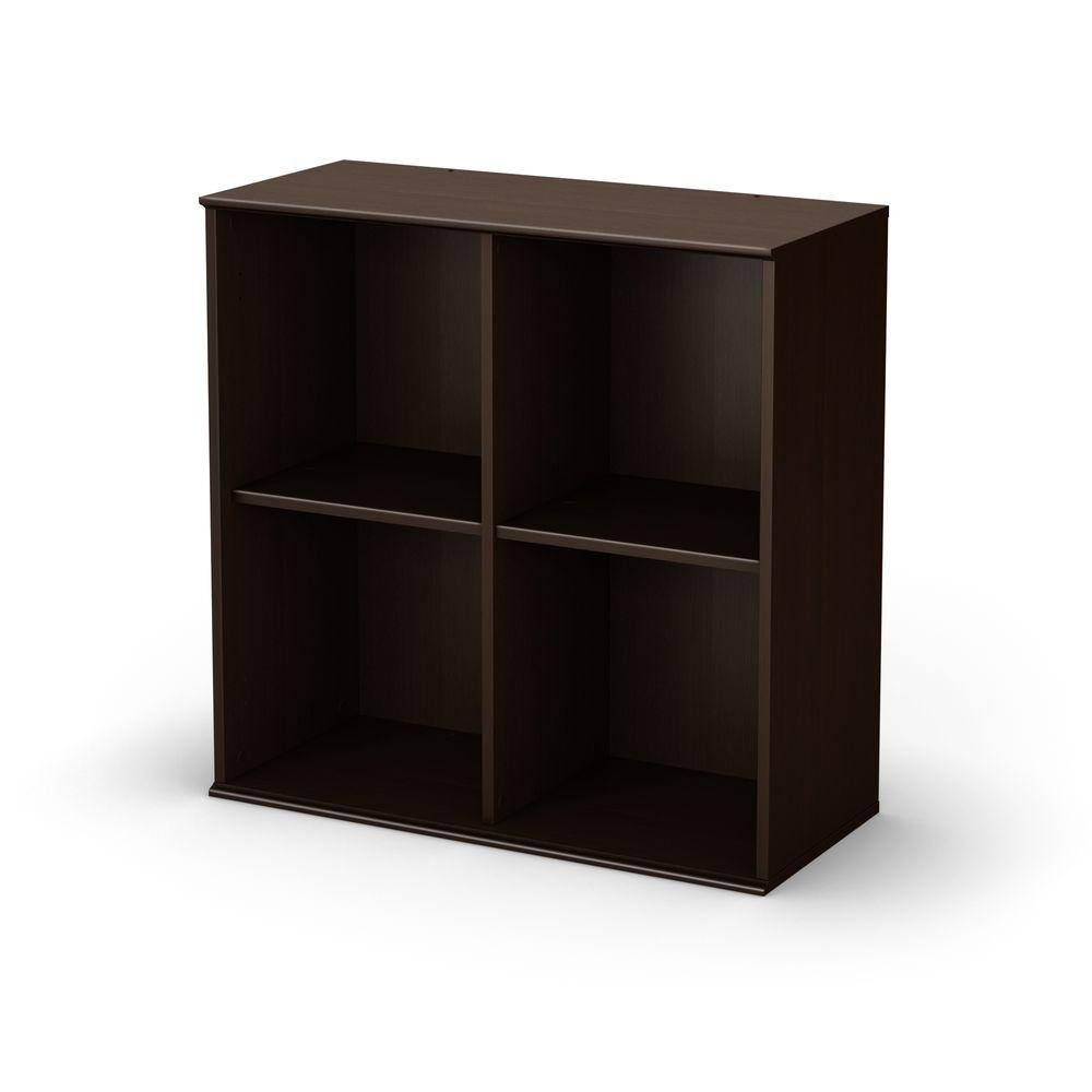 South Shore Stor It 4-Cubby Storage Unit in Chocolate-DISCONTINUED