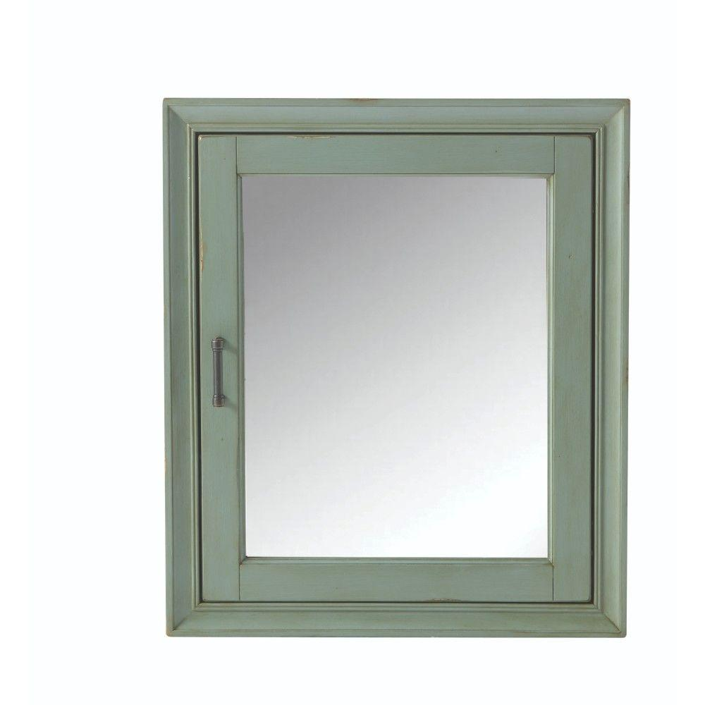 Home Decorators Collection Hazelton 24 in. W Bathroom Medicine Cabinet in  Antique Green - Home Decorators Collection Hazelton 24 In. W Bathroom Medicine