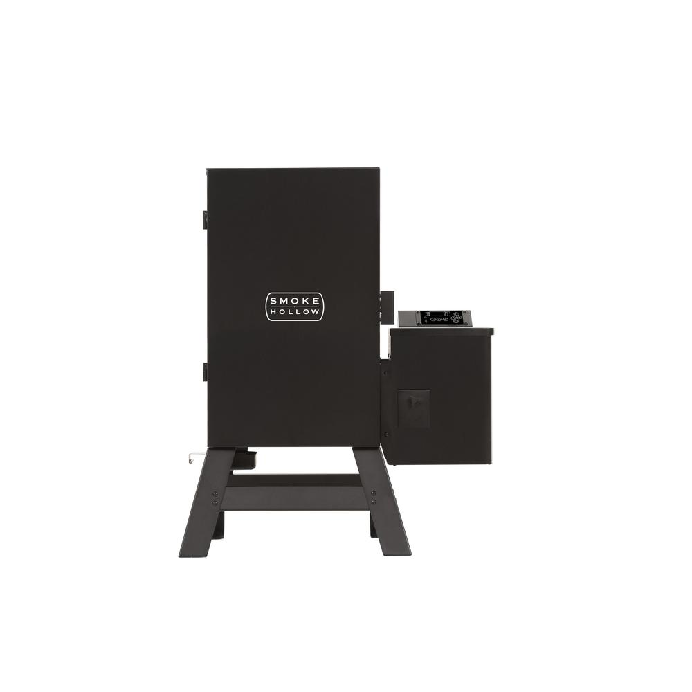Smoke Hollow WS 30C Pellet Smoker Cook with the versatility of pellets with the Smoke Hollow WS30C Pellet Smoker. The clean-burning pellet system monitors the cabin temperature and adjusts the auger speed, feeding the correct amount of pellets to maintain the set temperature. Pellets provide an ease of use with unmatched flavor and consistency. Smoke, bake, grill, and more without worrying about reloading for hours of continuous cooking.