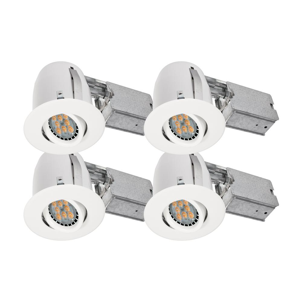 White Recessed LED Lighting Kit With GU10 Bulb Included (4