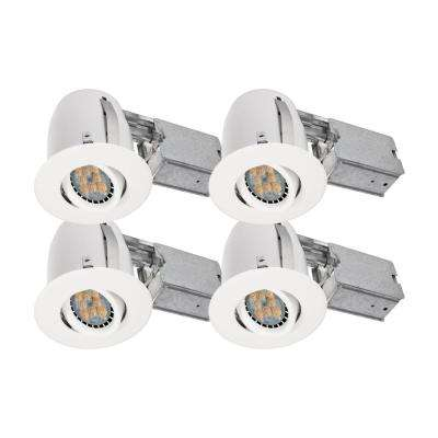 4-in. White Recessed LED Lighting kit with GU10 bulb included (4-Pack)