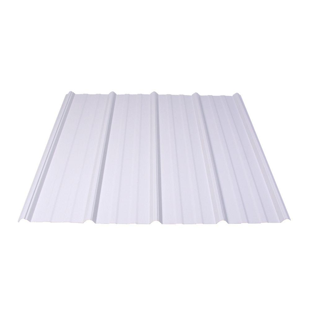 Fabral Fabral Shelterguard 10 ft. Exposed Fastener Galvanized Steel Roof Panel in White