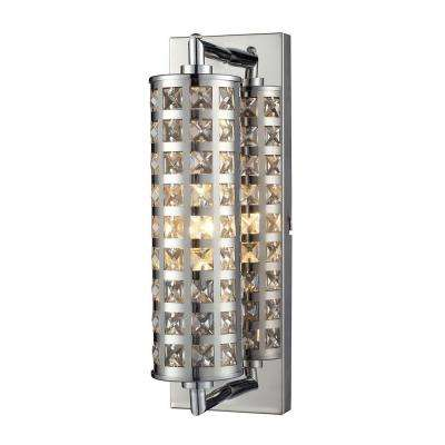 Crystallure 1-Light Polished Chrome Wall Mount Bath Bar Light