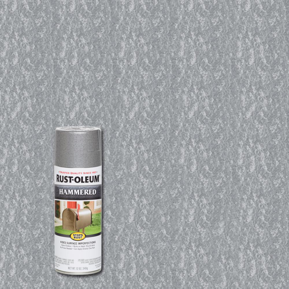 Rust-Oleum Stops Rust 12 oz. Hammered Silver Protective Spray Paint (6-Pack)