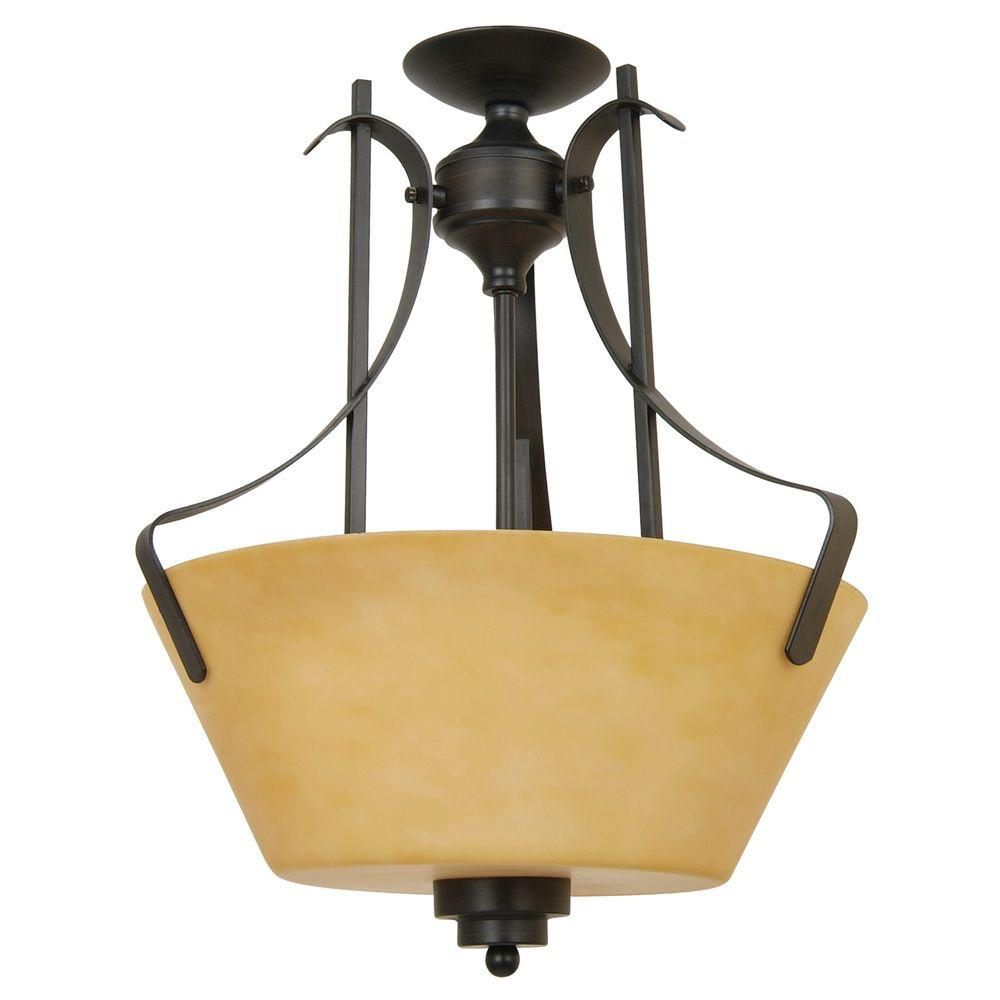 Yosemite Home Decor Nevada Falls Collection 3-Light Venetian Bronze Semi-Flush Mount Light with Amber Mist Glass Shade