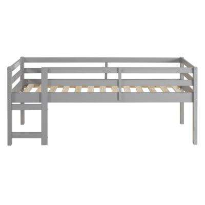 Solid Wood Grey Twin Low Loft Bed