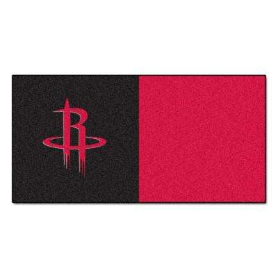 NBA Houston Rockets Black and Red Pattern 18 in. x 18 in. Carpet Tile (20 Tiles/Case)