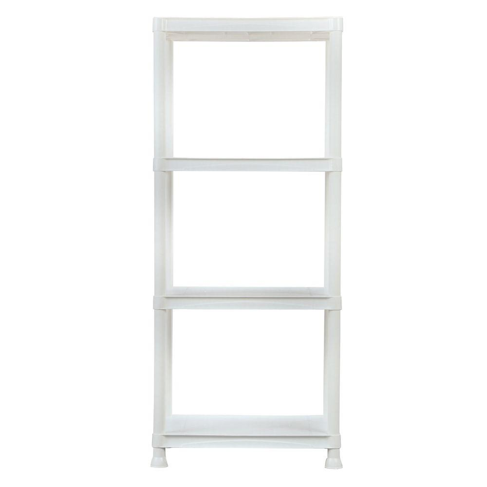 HDX 4 Shelf 14 In. D X 22 In. W X 52 In. H White Plastic Storage Shelving  Unit 17192435W   The Home Depot