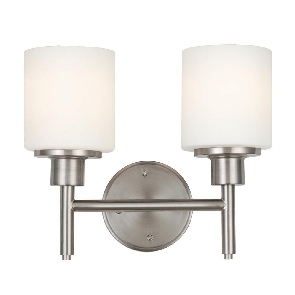 Aubrey 20-Watt 2-Light Satin Nickel Integrated LED Sconce