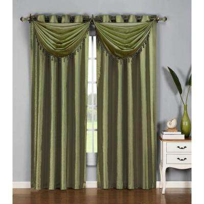 Semi-Opaque Jane Faux Silk 54 in. W x 95 in. L Grommet Extra Wide Curtain Panel in Sage