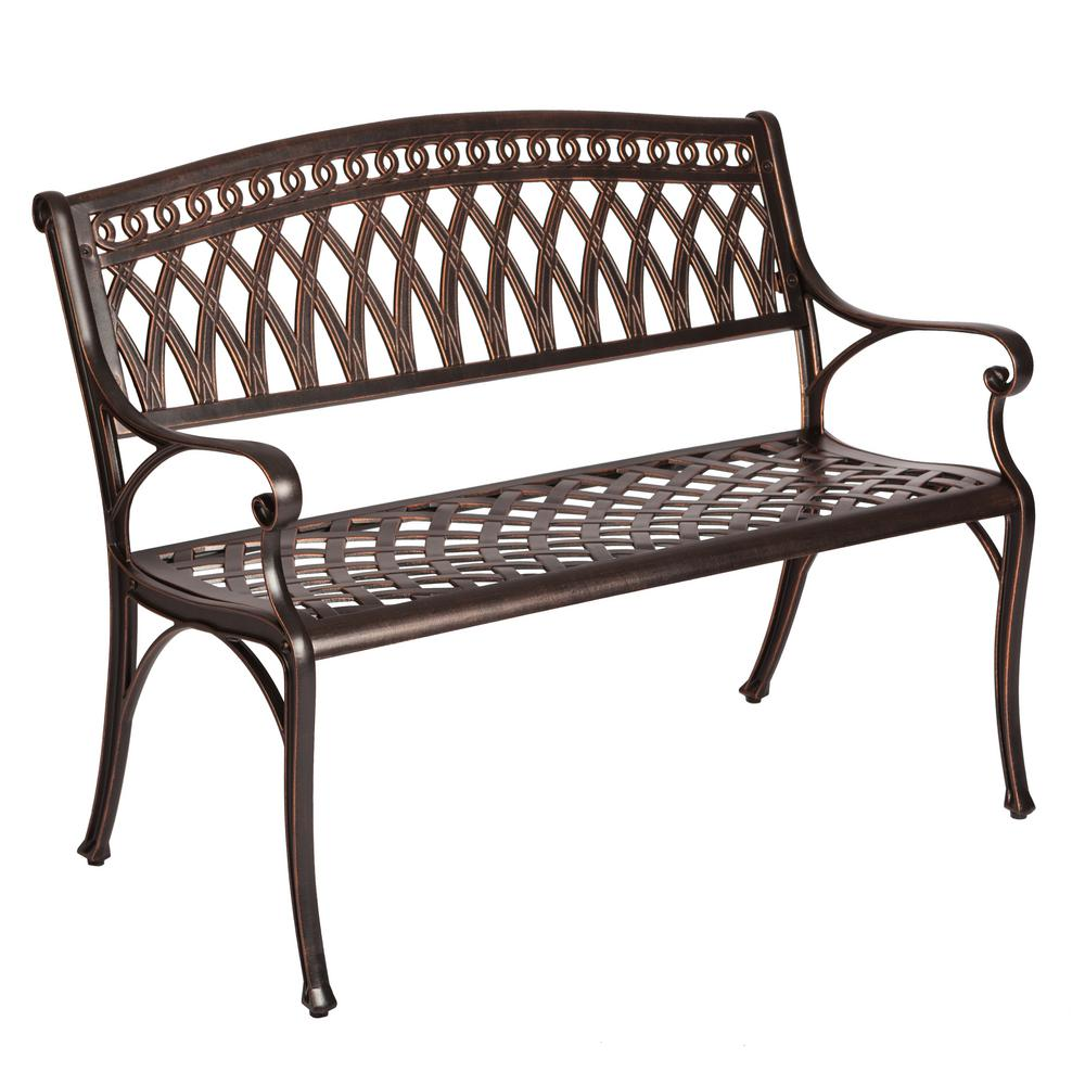 Charmant Patio Sense Simone 2 Person Antique Bronze Cast Aluminum Outdoor Bench
