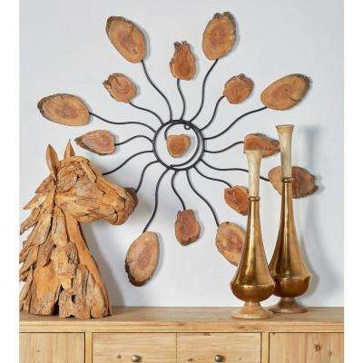 Iron and Teak Wood Beige Star Sculpture with Black Accents
