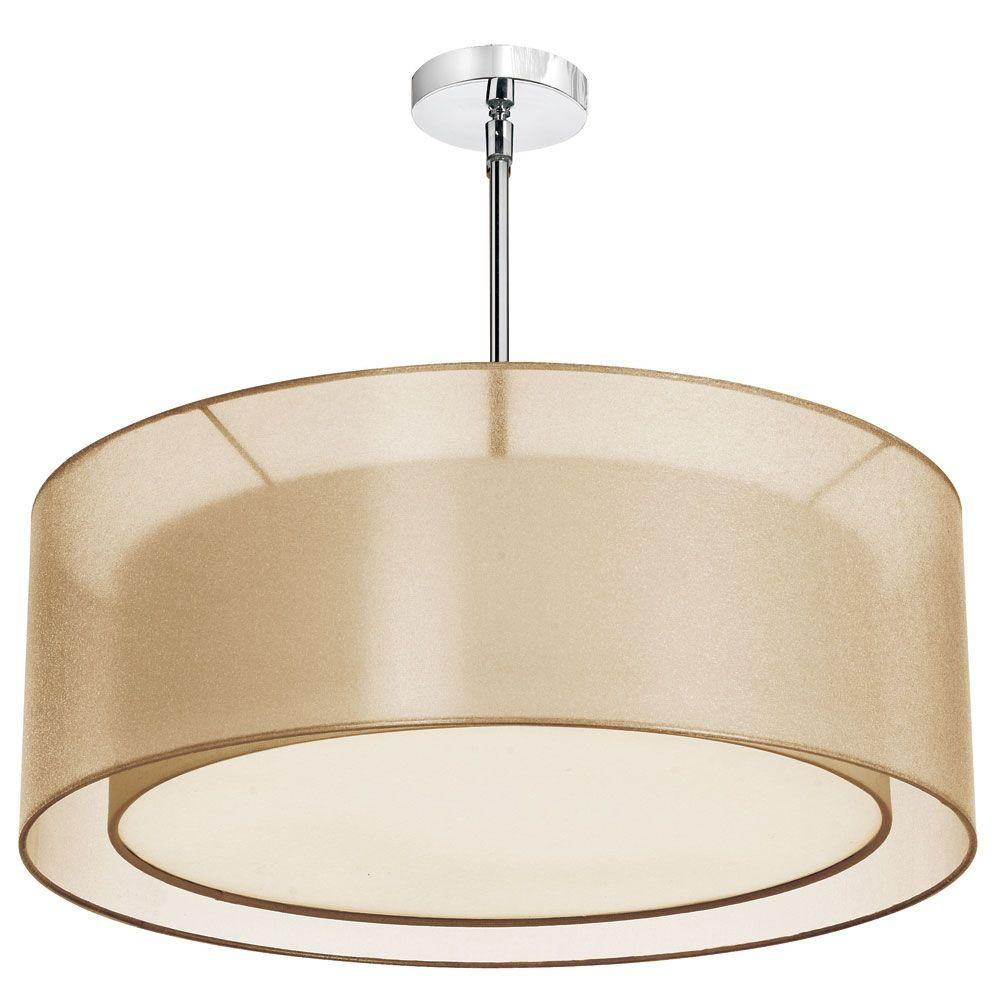 Filament Design Catherine 4 Light Incandescent Satin Chrome Chandelier with Gold Organza Shades