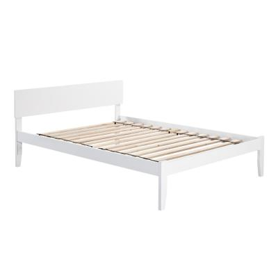 Orlando White Queen Platform Bed with Open Foot Board