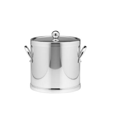 Americano 3 Qt. Polished Chrome Ice Bucket and Lid, Metal Side Handles