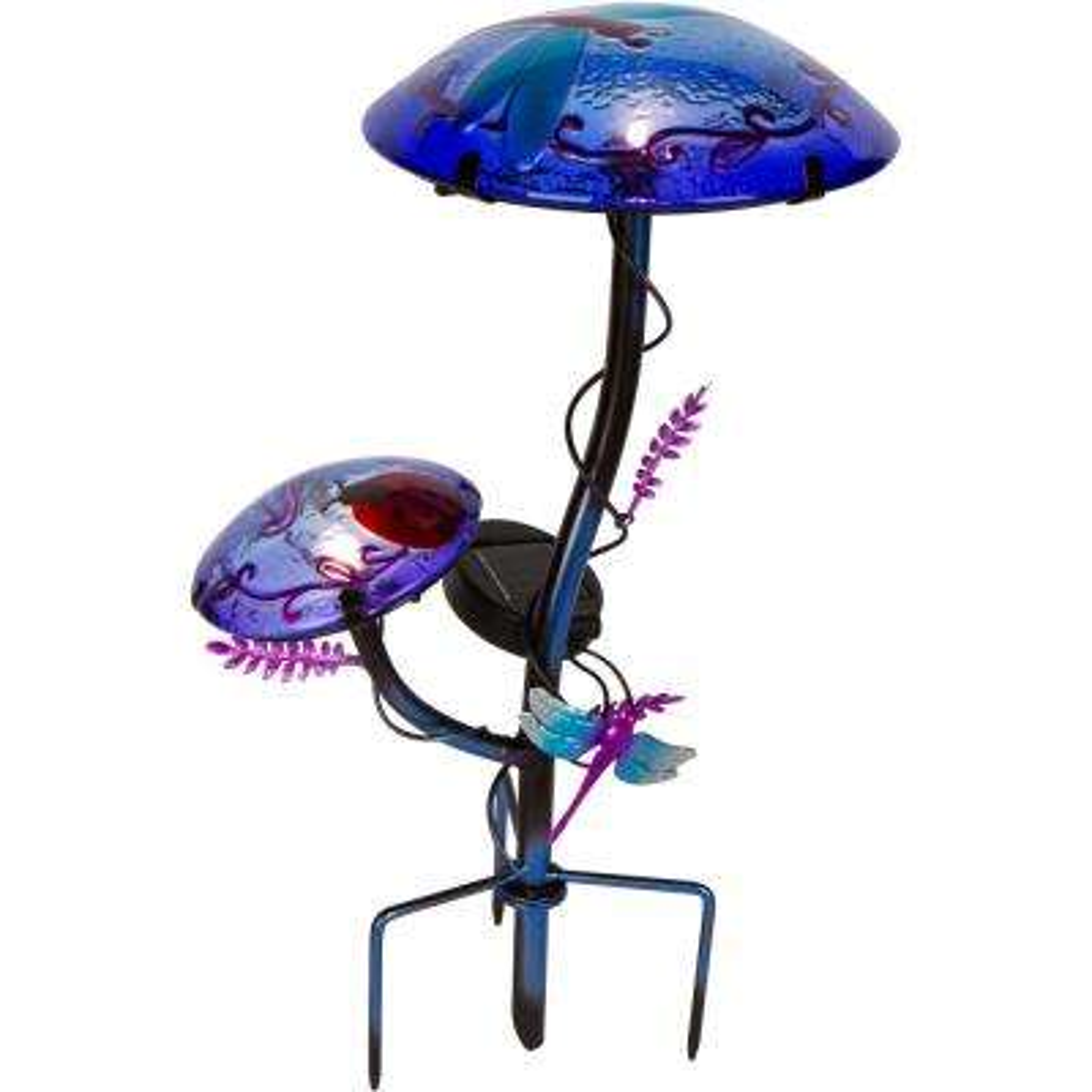 12 in. Solar Mushroom Garden Stake with Dragonfly Design in Purple