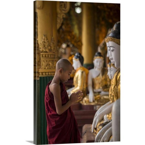 Strange 16 In X 24 In Young Burmese Monk Praying With Buddhas In Shwedagon Pagoda By Scott Stulberg Canvas Wall Art Home Interior And Landscaping Eliaenasavecom