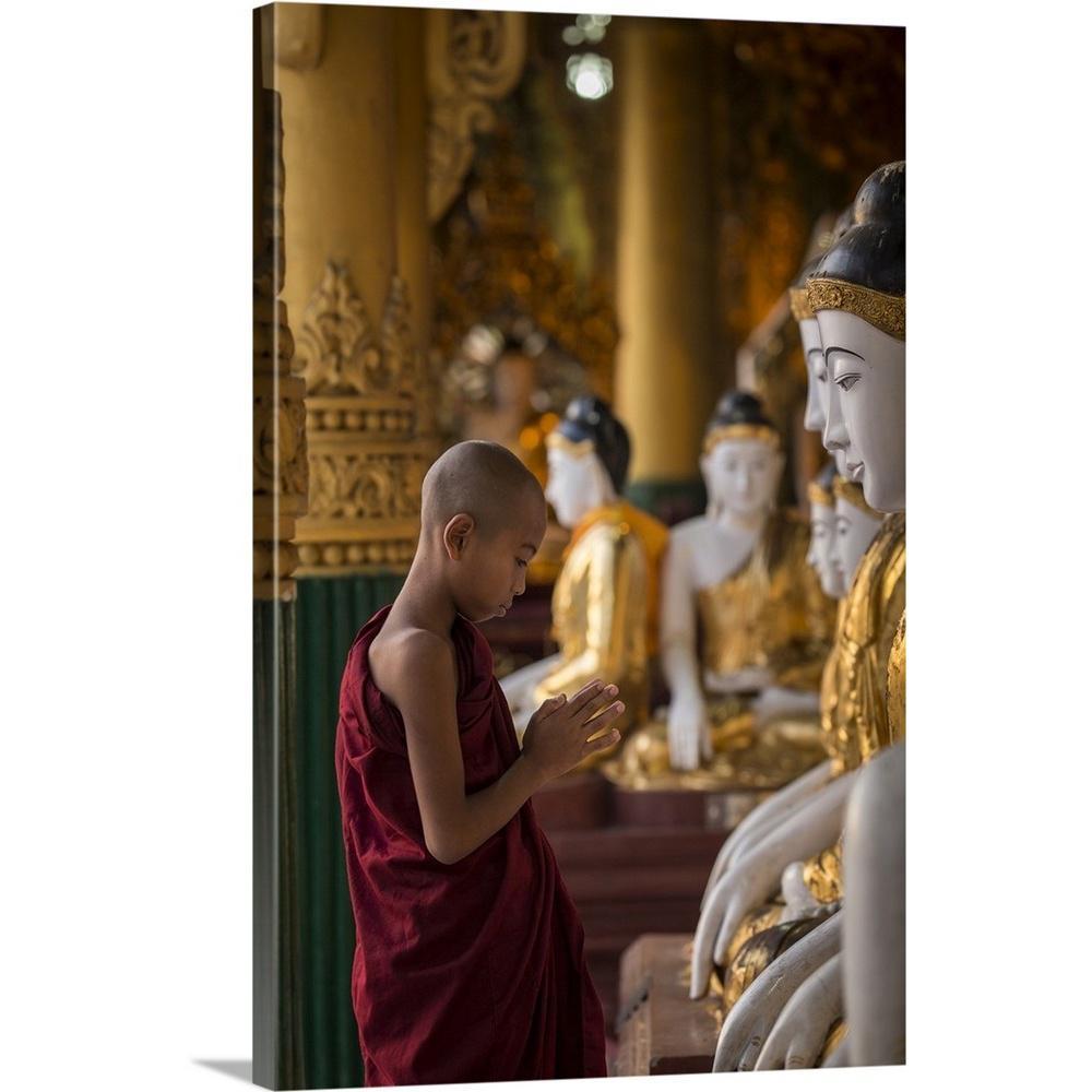 Astounding 16 In X 24 In Young Burmese Monk Praying With Buddhas In Shwedagon Pagoda By Scott Stulberg Canvas Wall Art Download Free Architecture Designs Boapuretrmadebymaigaardcom