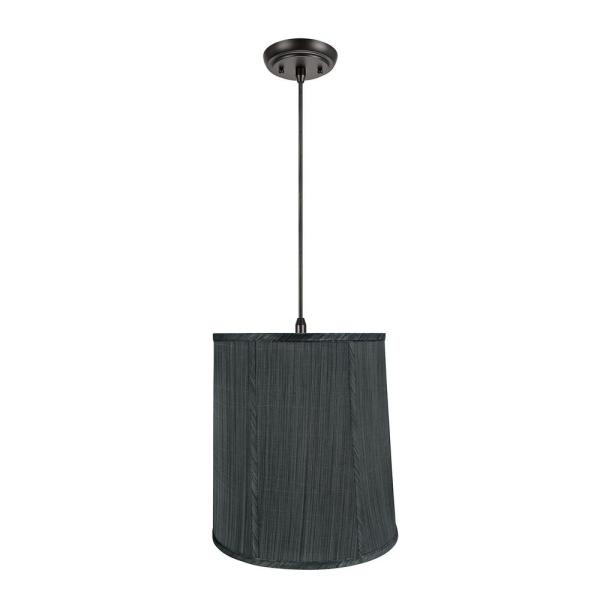 1-Light Oil Rubbed Bronze Pendant with Grey and Black Empire Fabric Shade