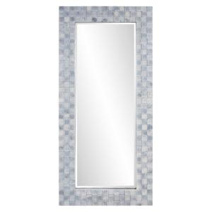 Oversized Rectangle Blue Gray Wash Beveled Glass Casual Mirror (75 in. H x 35 in. W)