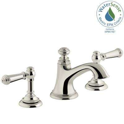 Artifacts 8 in. Widespread 2-Handle Bell Design Bathroom Faucet in Vibrant Polished Nickel with Lever Handles